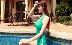 美女模特孔一红性感泳装写真壁纸