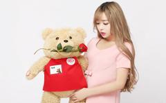 美女裴紫绮泰迪熊情人节壁纸