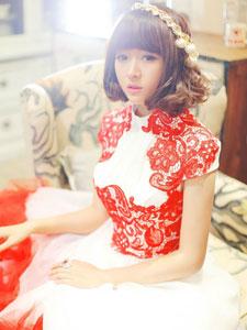 阿悄版红白镶嵌裙装芭比娃娃