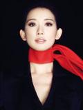 林志玲喜气红围巾登杂志封面 优雅镂空装性感迷人