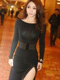柳岩高开叉黑礼裙秀玲珑身材 优雅知性曼妙动人
