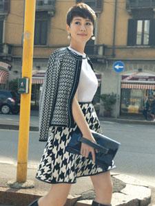 海清欧洲时尚街拍大片 干练短发气质佳