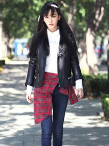 童菲初冬时尚街拍大片 时尚潮装范儿十足